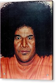 Sathya Sai Baba- Full Face Acrylic Print by Anne Provost
