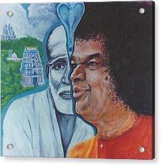 Sathya Sai Baba- Shirdi Sai Baba Acrylic Print by Anne Provost
