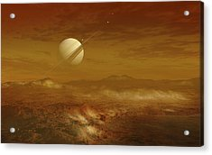 Saturn Above The Thick Atmosphere Acrylic Print