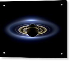 Saturn Mosaic With Earth 4x3 Acrylic Print by Adam Romanowicz