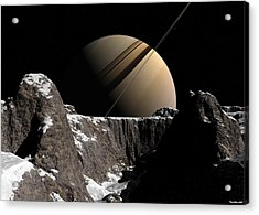 Acrylic Print featuring the digital art Saturn Rise by David Robinson