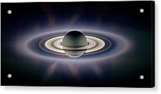 Saturn Silhouetted, Cassini Image Acrylic Print by Nasajplspace Science Institute