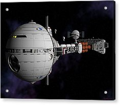 Acrylic Print featuring the digital art Saturn Spaceship Uss Cumberland by David Robinson