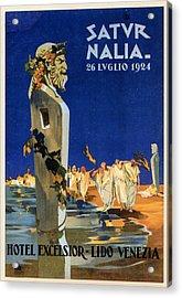 Saturnalia Celebrations On Lido Di Venezia - Venice, Italy - Vintage Poster Acrylic Print