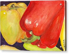 Saucey Peppers Acrylic Print by Vickie Blair
