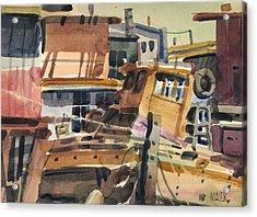 Sausalito House Boats Acrylic Print by Donald Maier