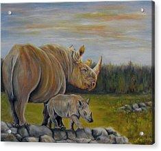 Savanna Overlook, Rhinoceros  Acrylic Print