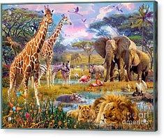 Savannah Animals Acrylic Print by Jan Patrik Krasny
