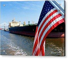 Savannah Georgia Container Ship And Us Flag Acrylic Print