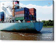 Savannah Georgia Harbour Container Ship Middle East  Acrylic Print