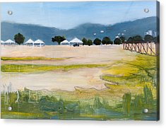 Savannah With Tents Acrylic Print by Mary Adam