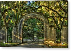 Acrylic Print featuring the photograph Savannah's Wormsloe Plantation Gate Live Oak Alley Art by Reid Callaway