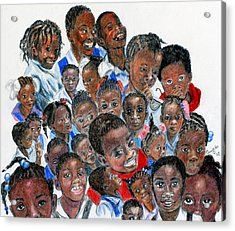 Acrylic Print featuring the painting Save The Children by Quwatha Valentine