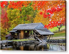 Sawmill Reflection, Autumn In New Hampshire Acrylic Print