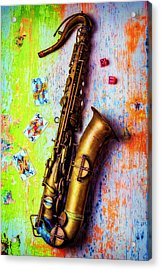 Sax And Old Playing Cards Acrylic Print by Garry Gay