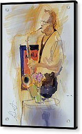 Acrylic Print featuring the painting Sax Man by Gertrude Palmer