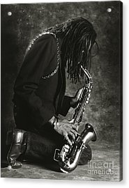 Sax Player 1 Acrylic Print by Tony Cordoza