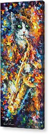 Saxophone Cat   Acrylic Print by Leonid Afremov