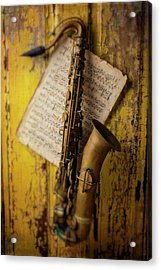 Saxophone Hanging On Old Wall Acrylic Print by Garry Gay