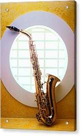 Saxophone In Round Window Acrylic Print by Garry Gay