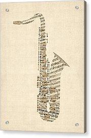 Saxophone Old Sheet Music Acrylic Print