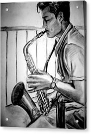 Saxophone Player Acrylic Print by Laura Rispoli