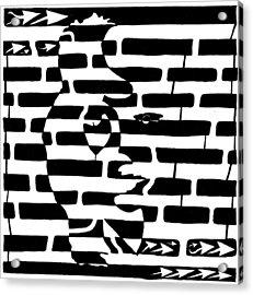 Saxophone Player Or Woman Maze Acrylic Print by Yonatan Frimer Maze Artist