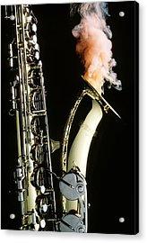 Saxophone With Smoke Acrylic Print