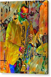 Saxophonist Acrylic Print by Dorothy Berry-Lound
