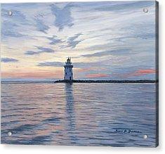 Saybrook Breakwater Light Acrylic Print by Bruce Dumas