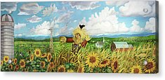 Scare Crow And Silo Farm Acrylic Print