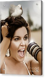 Scared Woman Acrylic Print by Jorgo Photography - Wall Art Gallery
