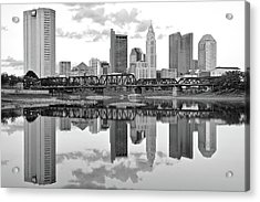 Acrylic Print featuring the photograph Scarlet And Columbus Gray by Frozen in Time Fine Art Photography