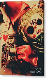 Scary Doll Dressed As Joker On Playing Card Acrylic Print by Jorgo Photography - Wall Art Gallery