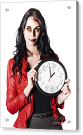 Scary Halloween Woman Holding Clock Acrylic Print by Jorgo Photography - Wall Art Gallery
