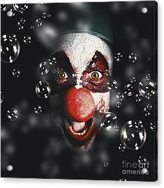 Scary Horror Circus Clown Laughing With Evil Smile Acrylic Print by Jorgo Photography - Wall Art Gallery