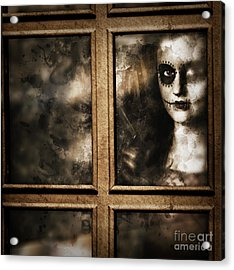 Scary Murderer Standing By The Window With Handgun Acrylic Print by Jorgo Photography - Wall Art Gallery