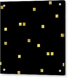 Scattered Gold Square Confetti Gold Glitter Confetti On Black Acrylic Print