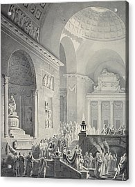 Scene In A Classical Temple  Funeral Procession Of A Warrior Acrylic Print by Joseph Charles Barrow