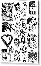 Scene Kid Sketches Acrylic Print by Roseanne Jones