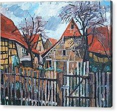 Scheunen Am Ortsrand Lienzingen Acrylic Print by Martin Stankewitz