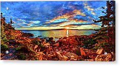 Schoodic Point Sunset Acrylic Print by ABeautifulSky Photography