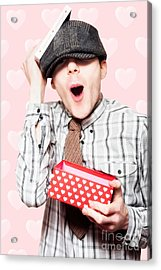 School Boy In Love Holding Valentines Day Present Acrylic Print by Jorgo Photography - Wall Art Gallery