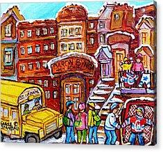 School Bus Rue St Urbain Baron Byng High Montreal 375 Hockey Art Colorful Street Scene Painting      Acrylic Print