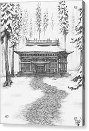 School In The Snow Acrylic Print
