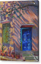 School Room Door Varanasi India Acrylic Print by Art Nomad Sandra  Hansen