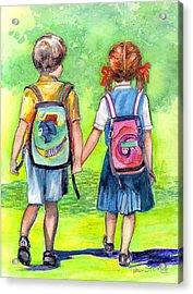 Schooldays Acrylic Print by Val Stokes