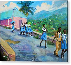 School's Out In Jamaica Acrylic Print by Margaret  Plumb