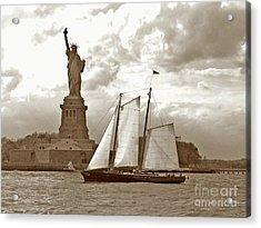 Schooner At Statue Of Liberty Twurl Acrylic Print