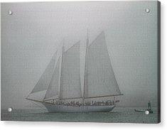 Schooner In Fog Acrylic Print